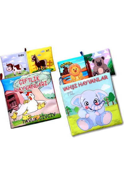 2 Kitap Tox Çiftlik Hayvanlar ve Vahşi Hayvanlar Kumaş Sessiz Kitap T58/T111 - Bez Kitap , Eğitici Oyuncak , Yumuşak ve Hışırtılı