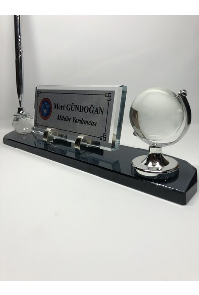 Gündoğan Kristal Cam Masa Isimliği Kişiye Özel Füme Gümüş - 28 x 6 cm