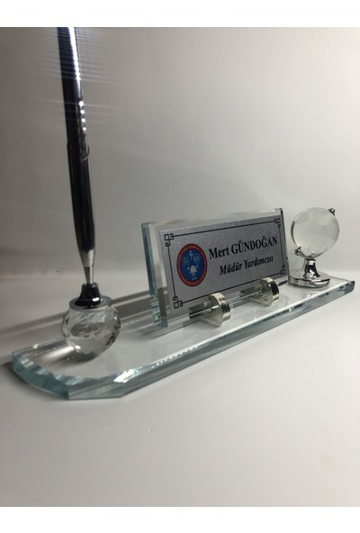 Gündoğan Kristal Cam Masa Isimliği Kişiye Özel Masaüstü Şeffaf - Gümüş 28 x 6 cm