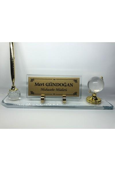 Gündoğan Kristal Cam Masaüstü Isimlik Şeffaf - Altın