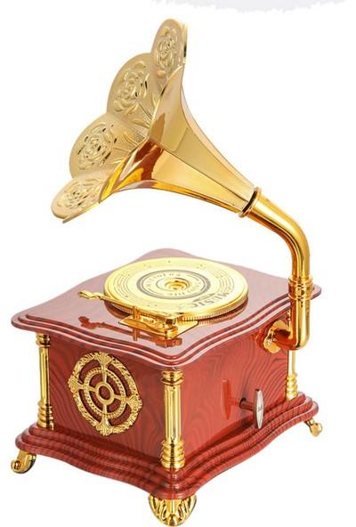 Bent Nostaljik Gramofon Görünümlü Müzik Kutusu Kahverengi Gramafonmuzıkkutusu