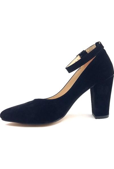 Gizzah Siyah Süet 9 cm Baretli Bayan Günlük Ayakkabı