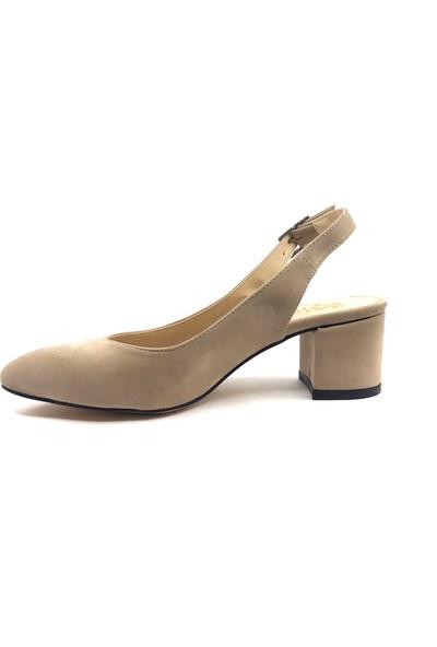 Gizsah Ten Arkası Açık Süet Alçak Topuklu Bayan Ayakkabı