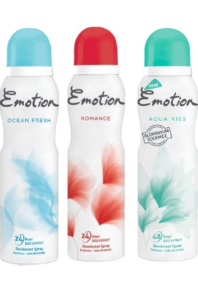 Emotion 3 Lü Deodorant Deneme Paketi Romans 150 ml +Aqua Kiss 150 ml + Ocean Fresh 150 ml