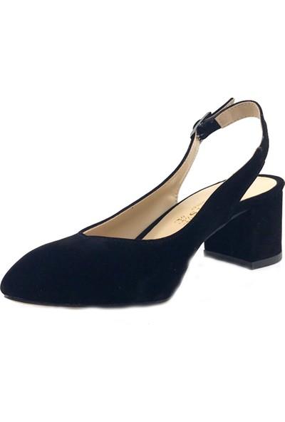 Gizsah Siyah Arkası Açık Süet Alçak Topuklu Bayan Ayakkabı