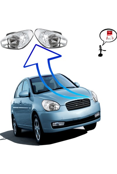 Ayfar Hyundai Accent Era Sağ+Sol Ön Far Şeffaf Sinyalli 2009--2011