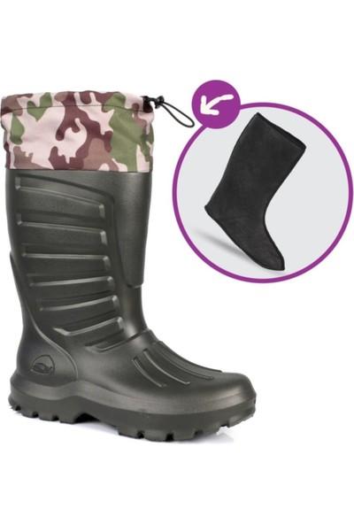 Sonimix Termal Eva -30 Derece Dayanıklı Konçlu Çoraplı 44 No Çizme Haki