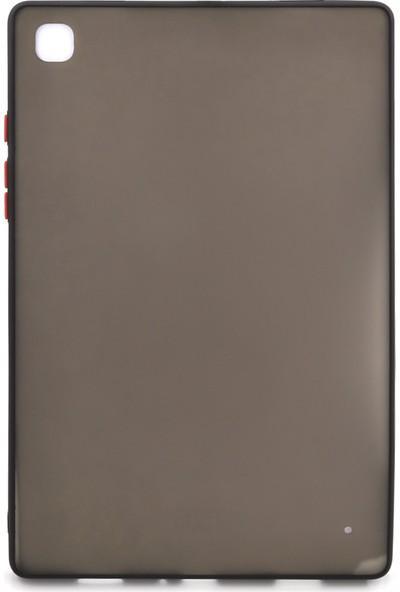 Case Markt Samsung Galaxy Tab A T510 Tuşları & Kenarları Renkli Arkası Mat Tablet Kılıfı Siyah
