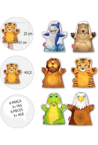 6 Parça Tox Vahşi Hayvanlar El Kukla Set , Eğitici Oyuncak