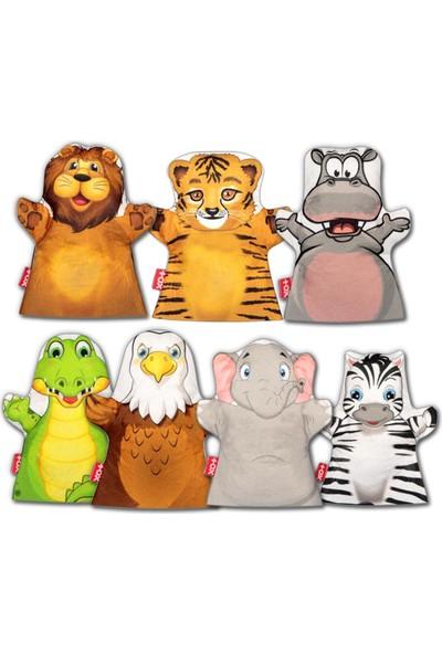 7 Parça Tox Safari Hayvanlar El Kukla Set , Eğitici Oyuncak