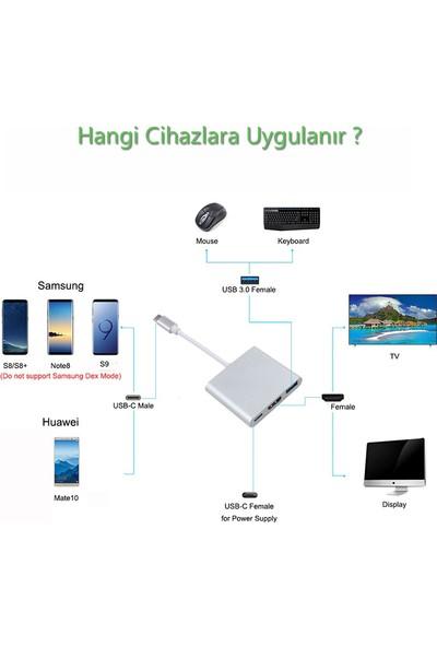 Lineon Type C To USB 3.0 HDMI Çevirici ve 4K Görüntü Aktarma Aparatı
