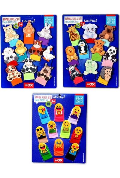 3 Set - 30 Parça Tox Evcil , Vahşi Hayvanlar ve Emojiler Parmak Kukla 77-2/78-2/106