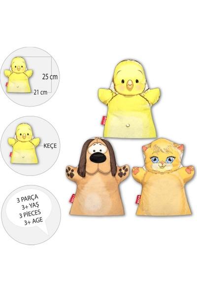 3 Parça Tox Evcil Hayvanlar El Kukla Set , Eğitici Oyuncak