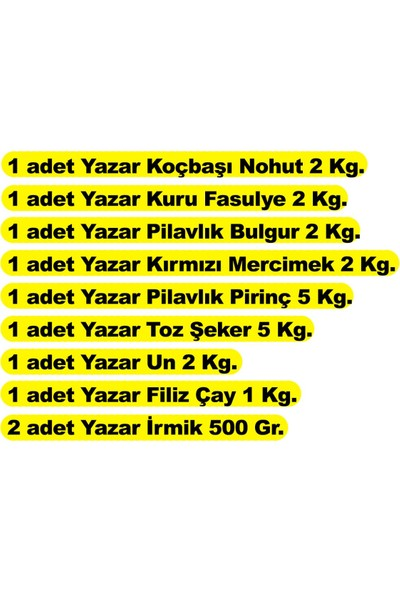 Yazar Ramazan Gıda Kumanya Paketi 9PARÇA-22KG