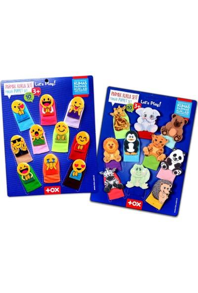 2 Set - 20 Parça Tox Emojiler ve Vahşi Hayvanlar Parmak Kukla 106/78-2