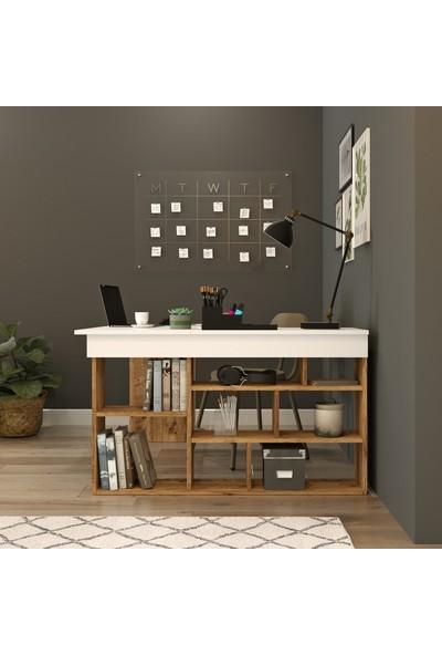Robin Home Kitaplık Raflı Çalışma Masası Ofis Bilgisayar Masası