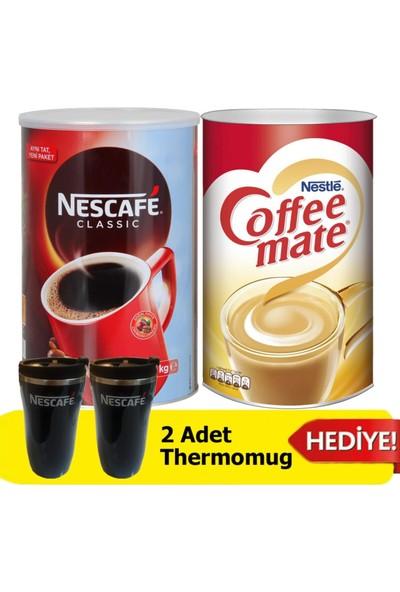 Nescafe Classic 1 kg + Coffee Mate Kahve Kreması 2 kg + 2'li Thermomug