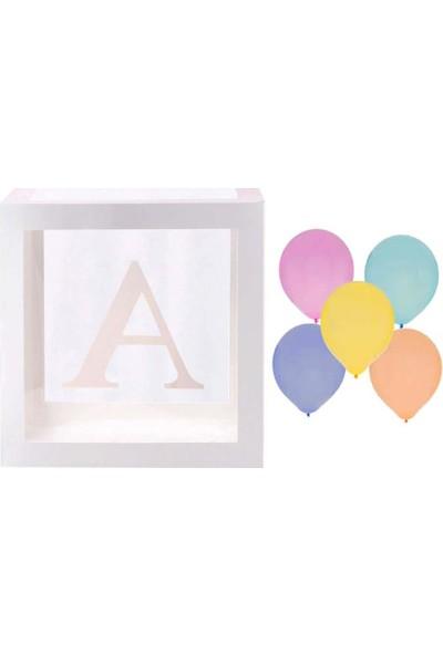 Patladı Gitti Şeffaf A Harfli Beyaz Kutu ve Balon Seti Kendin Yap Bebek Çocuk Doğum Günü Süsleme