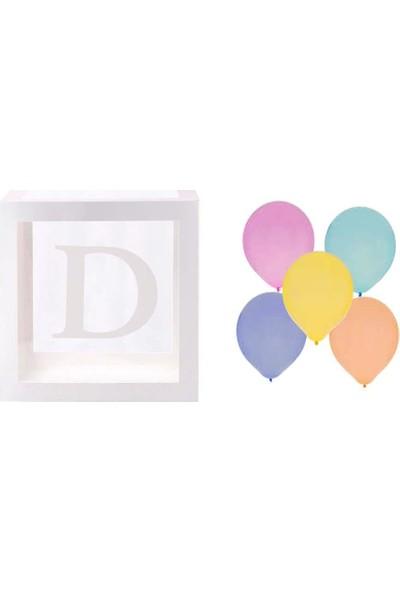 Patladı Gitti Şeffaf D Harfli Beyaz Kutu ve Balon Seti Kendin Yap Bebek Çocuk Doğum Günü Süsleme