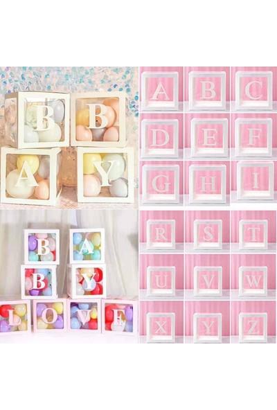 Patladı Gitti Şeffaf E Harfli Beyaz Kutu ve Balon Seti Kendin Yap Bebek Çocuk Doğum Günü Süsleme