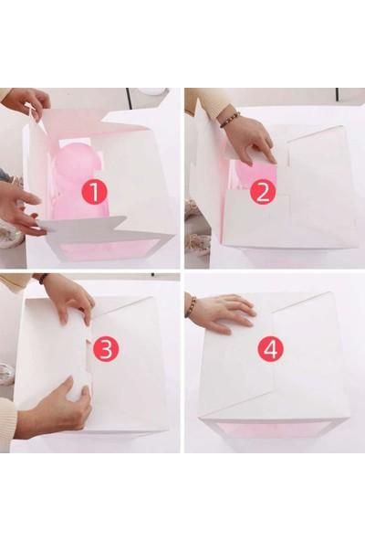 Patladı Gitti Şeffaf M Harfli Beyaz Kutu ve Balon Seti Kendin Yap Bebek Çocuk Doğum Günü Süsleme