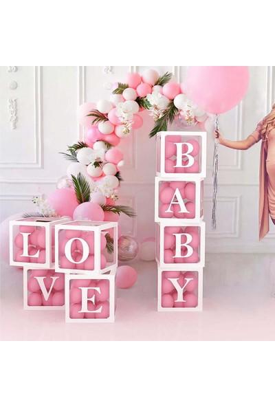 Patladı Gitti Şeffaf N Harfli Beyaz Kutu ve Balon Seti Kendin Yap Bebek Çocuk Doğum Günü Süsleme