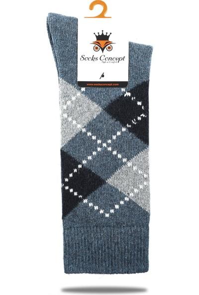 Socks Concept Yün Erkek Kışlık Çorap Indigo Mavi Renk Ekose Desen