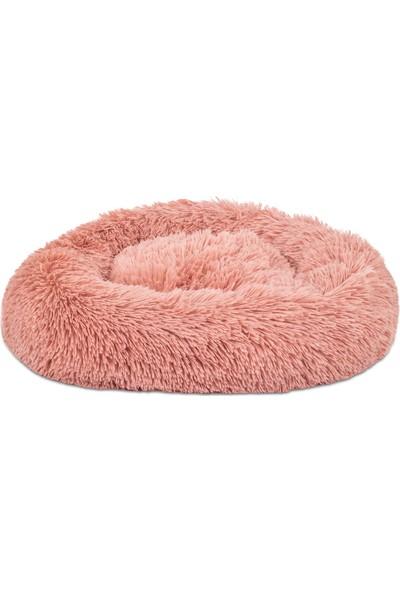 Sleep Max Sleepmax Lux Yuvarlak Dekoratif Yıkanabilir Kaymaz Tabanlı Stres Giderici Gül Kurusu Tüylü Peluş Kedi Köpek Yatağı