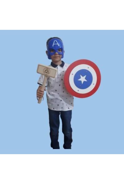 Ahtek Ahşap Oyuncak Seti 4'lü, Kaptan Amerika Maskesi, Kalkanı, Kılıcı ve Ahşap Tor (Thor) Çekici