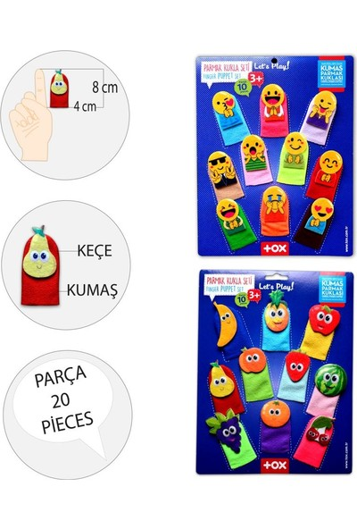 Tox 2 Set - 20 Parça Tox Emojiler ve Meyveler Parmak Kukla 106/105