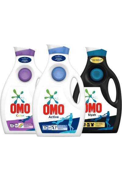 Omo Sıvı Deterjan Active 1950 ml + Color 1950 ml + Black 1950 ml