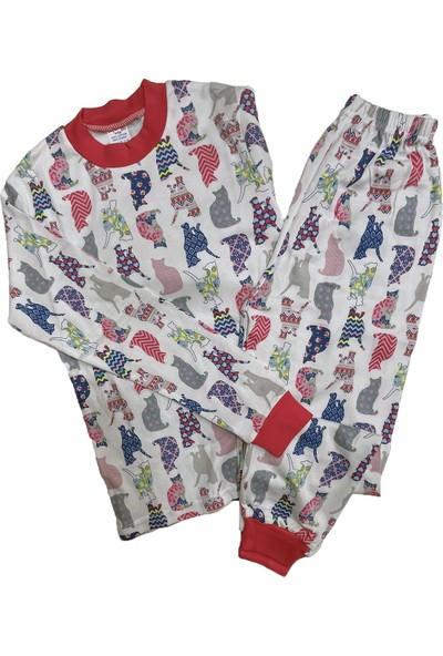 Seçkin Baby Desenli Kediler Çocuk Pijama Takım %100 Pamuk