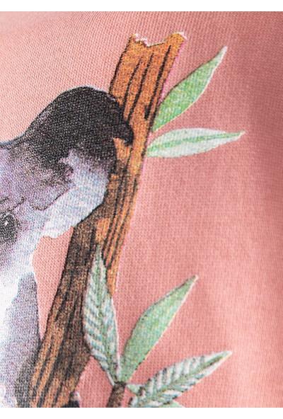 Ozmoz Organik Kız Çocuk Kuala Baskılı Sweatshirt - Pembe