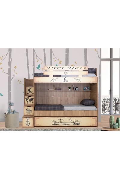 Güven Mobilya Piri Reis Baskılı 90 x 190 cm 3 Yataklı Yavrulu Ranza