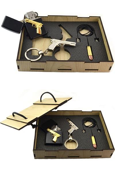 Anahtarlık Sepeti 14'lü Tabanca Rölyefli Set (3'lü)