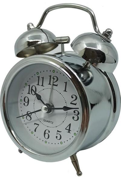 Jetfast Işıklı Alarmlı Küçük Metal Masa Saati Çalar Saat 12 Cm