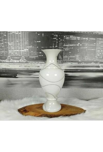 Arkeon Home Üfleme Cam El Yapımı Beyaz Desenli Vazo