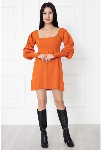 Kalopya Kadın Kolları Düğmeli Triko Elbise 1010