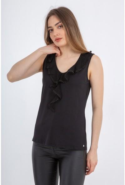 Tramontana Siyah Önü Dantel Detaylı Kolsuz Bluz
