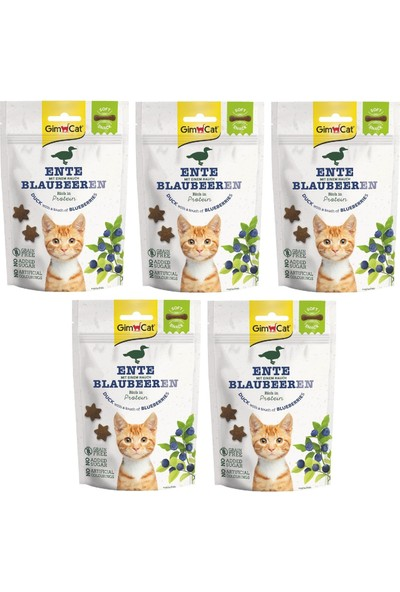 Gimcat Soft Snacks 5 Adet Duck & Blueberry Tahılsız Kedi Ödül 60GR