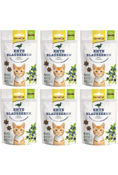Gimcat Soft Snacks 6 Adet Duck & Blueberry Tahılsız Kedi Ödül 60GR