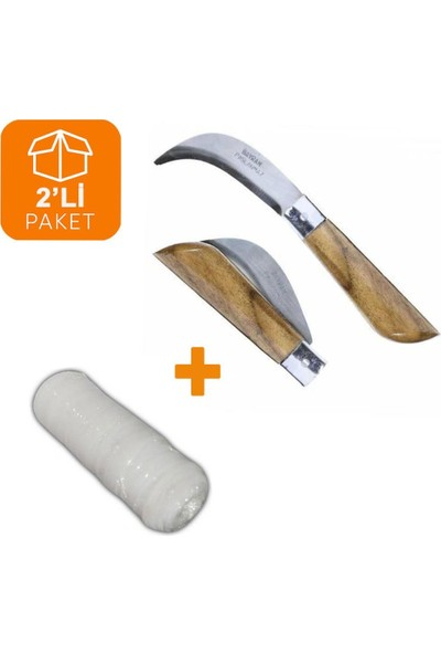 Zubizubi Bayram Aşı Bıçağı 22 cm No:3 + Aşı Bandı 40 Metre (2'li Paket)