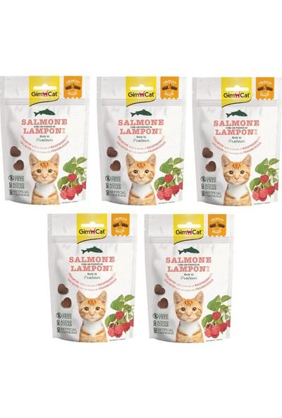 Gimcat Crunchy 5 Adet Snacks Salmon & Raspberry Kedi Ödülü 50 gr Tahılsız