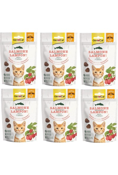 Gimcat Crunchy 6 Adet Snacks Salmon & Raspberry Kedi Ödülü 50 gr Tahılsız