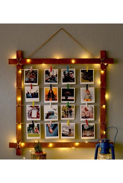 Anı Sepeti Ahşap LED Işıklı Ipli Mandallı Fotoğraf Çerçevesi 70X70 cm