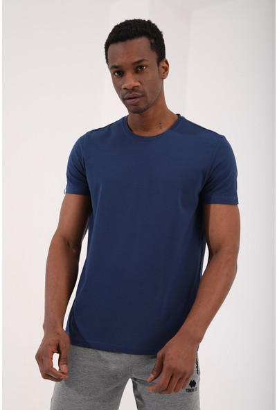 Tommy Life İndigo Erkek Basic Kısa Kol Standart Kalıp O Yaka T-Shirt - 87911