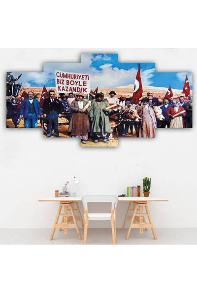 Dekorme 5 Parçalı Atatürk Kanvas Tablo 110 x 60 cm