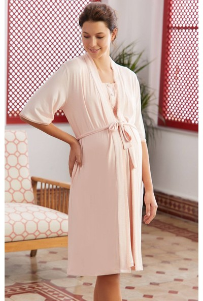 Eros 28750 Hamile Lohusa Sabahlıklı Pijama Takımı - Pudra