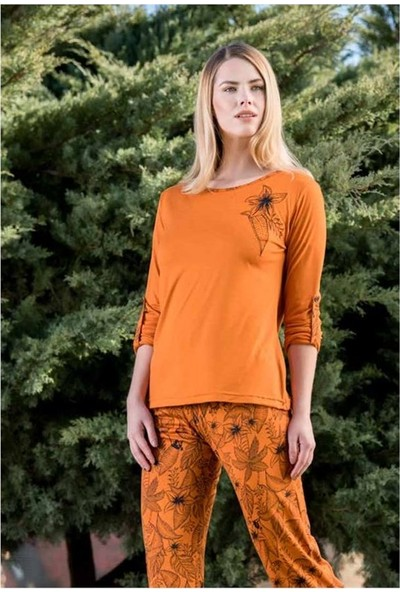Yeni Inci BPJ1572 Kadın Uzun Kollu Pijama Takımı - Yanık Tarçın