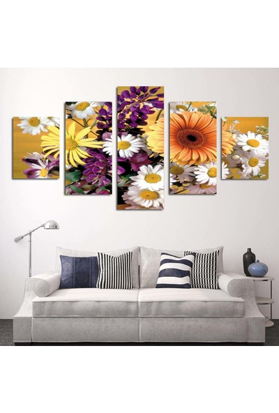 Dekorme 5 Parçalı Çiçek Kanvas Tablo 110 x 60 cm